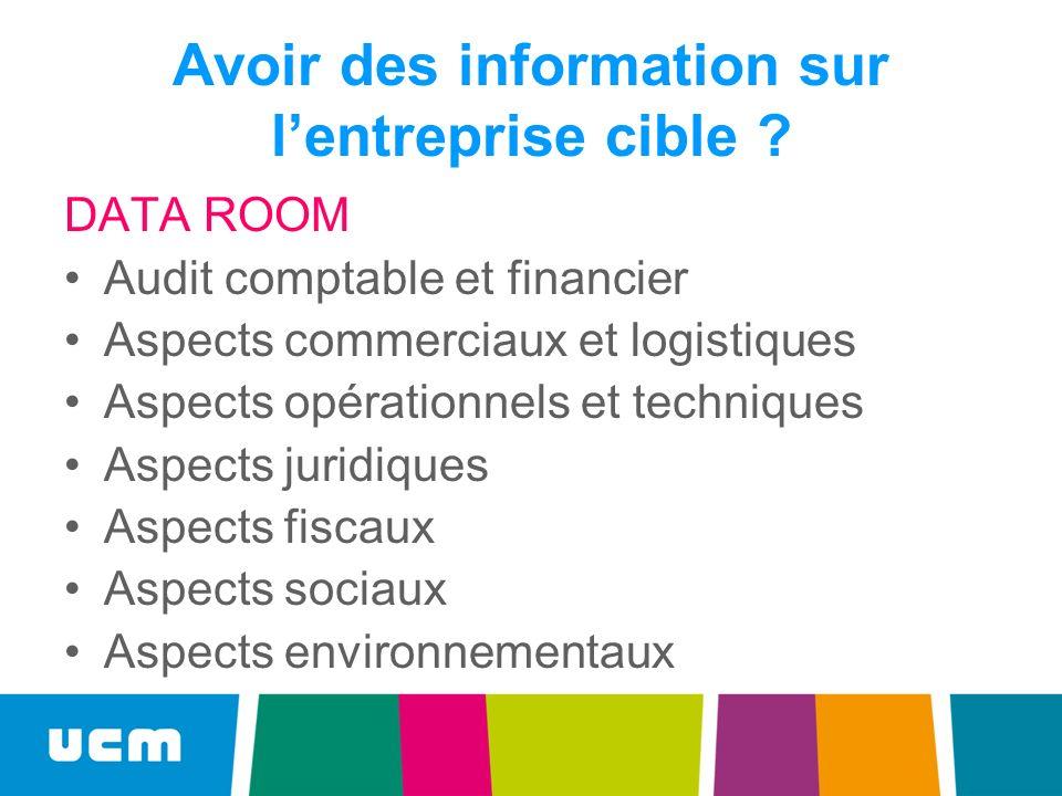 Avoir des information sur lentreprise cible ? DATA ROOM Audit comptable et financier Aspects commerciaux et logistiques Aspects opérationnels et techn