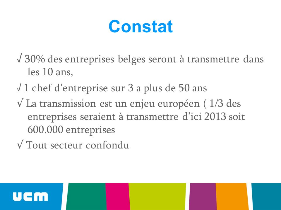 Constat 30% des entreprises belges seront à transmettre dans les 10 ans, 1 chef dentreprise sur 3 a plus de 50 ans La transmission est un enjeu européen ( 1/3 des entreprises seraient à transmettre dici 2013 soit 600.000 entreprises Tout secteur confondu