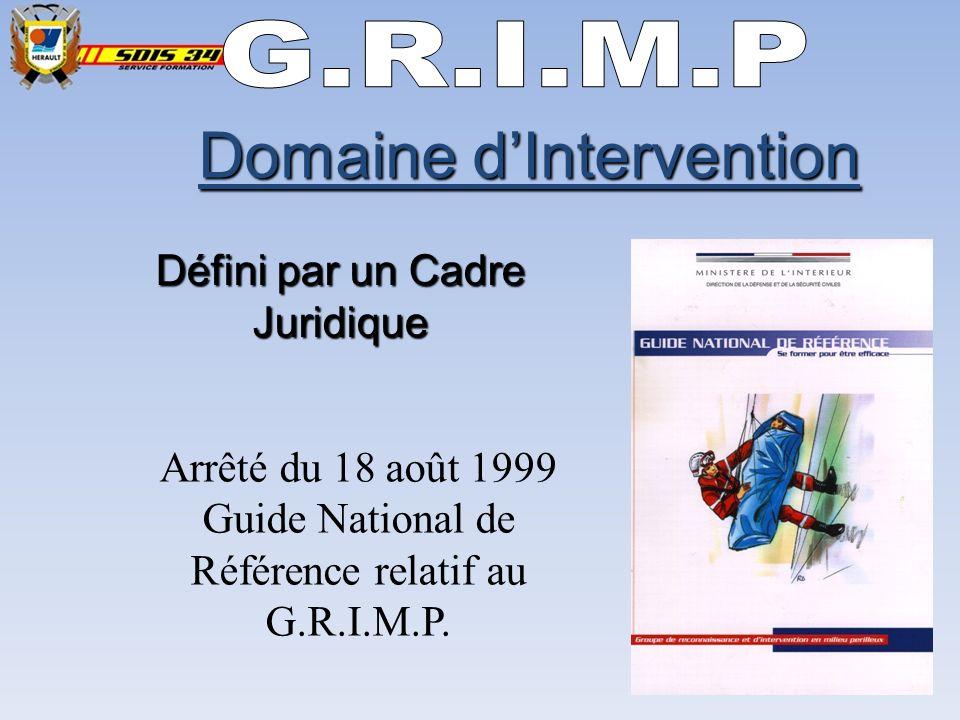 Domaine dIntervention Défini par un Cadre Juridique Arrêté du 18 août 1999 Guide National de Référence relatif au G.R.I.M.P.