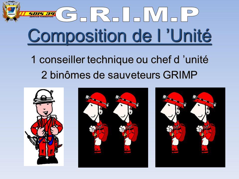 Composition de l Unité 1 conseiller technique ou chef d unité 2 binômes de sauveteurs GRIMP