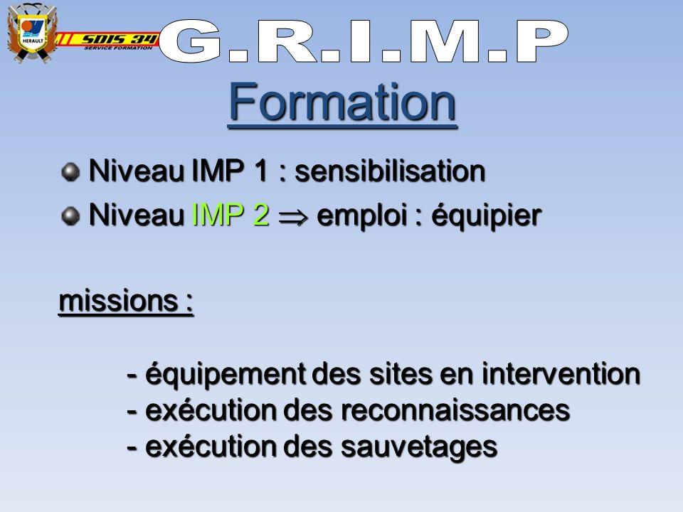 Niveau IMP 1 : sensibilisation Niveau IMP 1 : sensibilisation Niveau IMP 2 emploi : équipier Niveau IMP 2 emploi : équipier missions : - équipement des sites en intervention - exécution des reconnaissances - exécution des sauvetages Formation