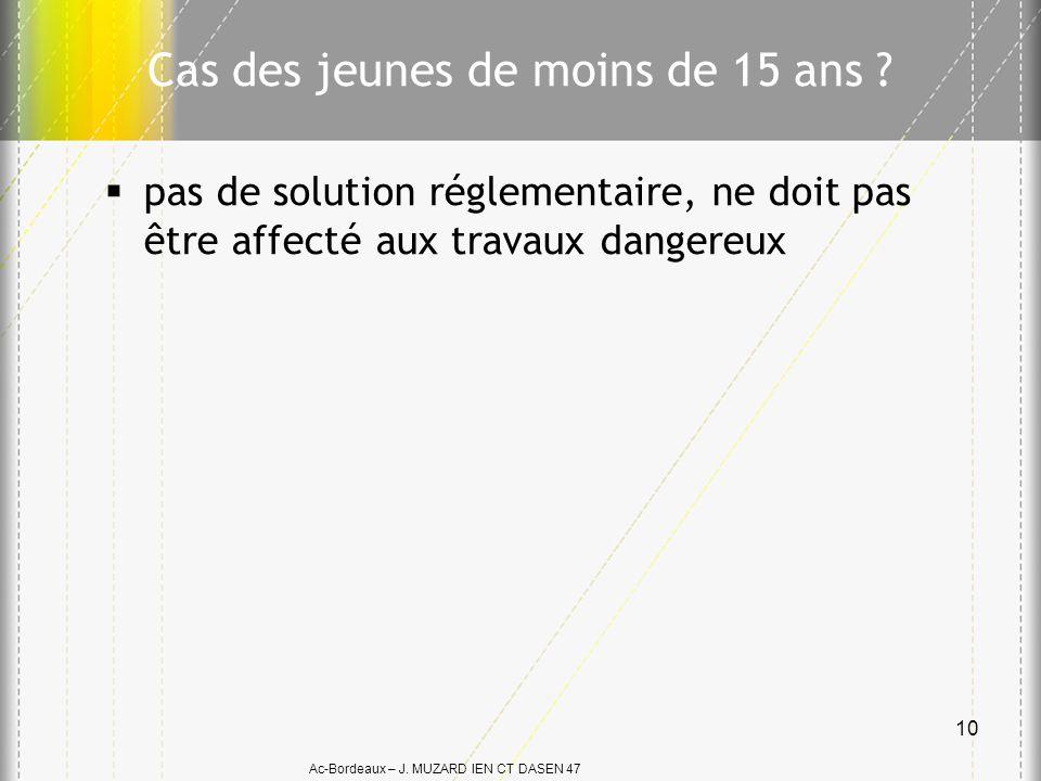 Ac-Bordeaux – J. MUZARD IEN CT DASEN 47 Cas des jeunes de moins de 15 ans ? pas de solution réglementaire, ne doit pas être affecté aux travaux danger