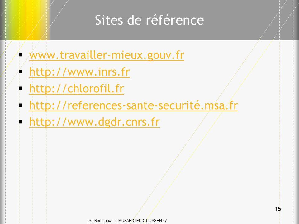 Ac-Bordeaux – J. MUZARD IEN CT DASEN 47 Sites de référence www.travailler-mieux.gouv.fr http://www.inrs.fr http://chlorofil.fr http://references-sante