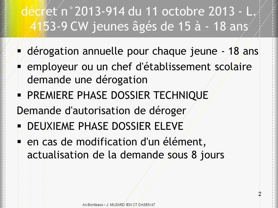Ac-Bordeaux – J. MUZARD IEN CT DASEN 47 décret n°2013-914 du 11 octobre 2013 - L. 4153-9 CW jeunes âgés de 15 à - 18 ans dérogation annuelle pour chaq
