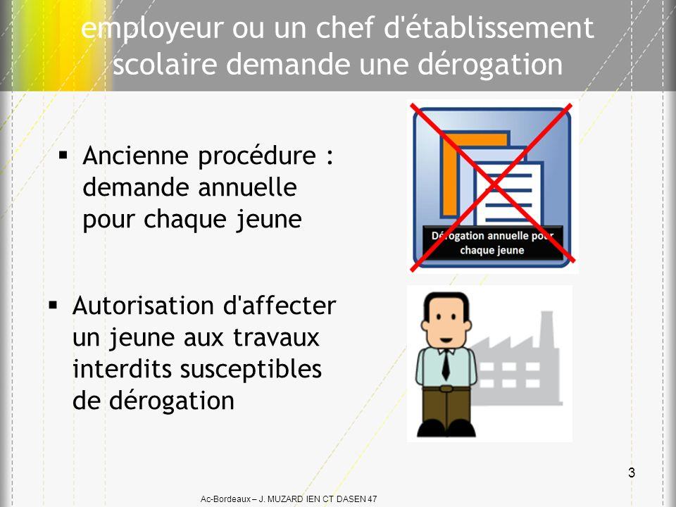 Ac-Bordeaux – J. MUZARD IEN CT DASEN 47 employeur ou un chef d'établissement scolaire demande une dérogation Autorisation d'affecter un jeune aux trav