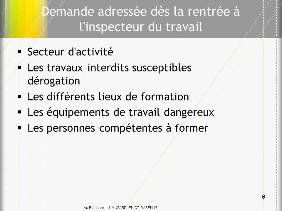 Ac-Bordeaux – J. MUZARD IEN CT DASEN 47 Demande adressée dès la rentrée à l'inspecteur du travail Secteur d'activité Les travaux interdits susceptible