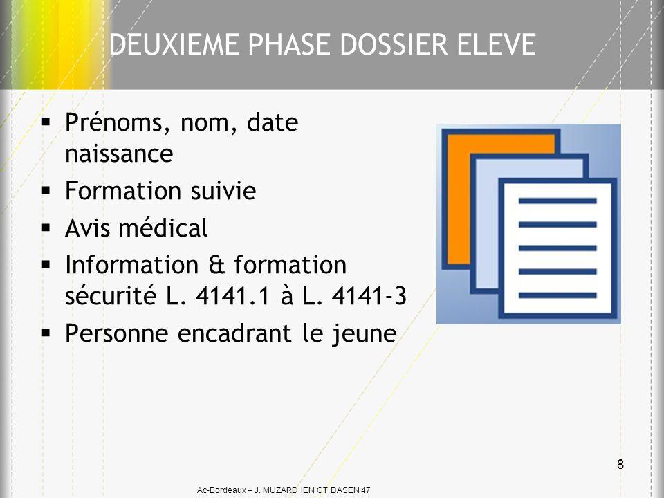 Ac-Bordeaux – J. MUZARD IEN CT DASEN 47 Prénoms, nom, date naissance Formation suivie Avis médical Information & formation sécurité L. 4141.1 à L. 414