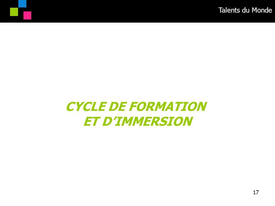 Talents du Monde 17 CYCLE DE FORMATION ET DIMMERSION