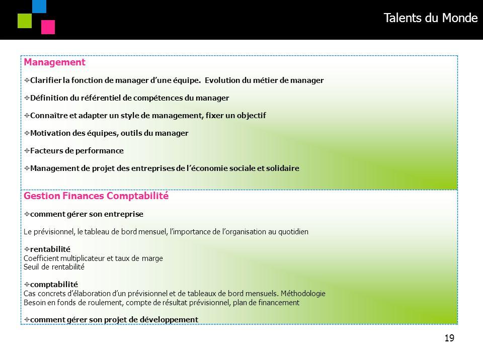 Talents du Monde 19 Management Clarifier la fonction de manager dune équipe. Evolution du métier de manager Définition du référentiel de compétences d