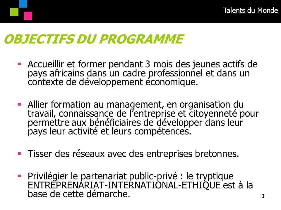 Talents du Monde 3 Accueillir et former pendant 3 mois des jeunes actifs de pays africains dans un cadre professionnel et dans un contexte de développ