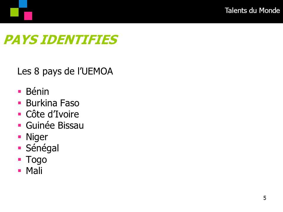 Talents du Monde 5 Les 8 pays de lUEMOA Bénin Burkina Faso Côte dIvoire Guinée Bissau Niger Sénégal Togo Mali PAYS IDENTIFIES