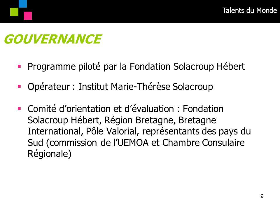 Talents du Monde 9 Programme piloté par la Fondation Solacroup Hébert Opérateur : Institut Marie-Thérèse Solacroup Comité dorientation et dévaluation