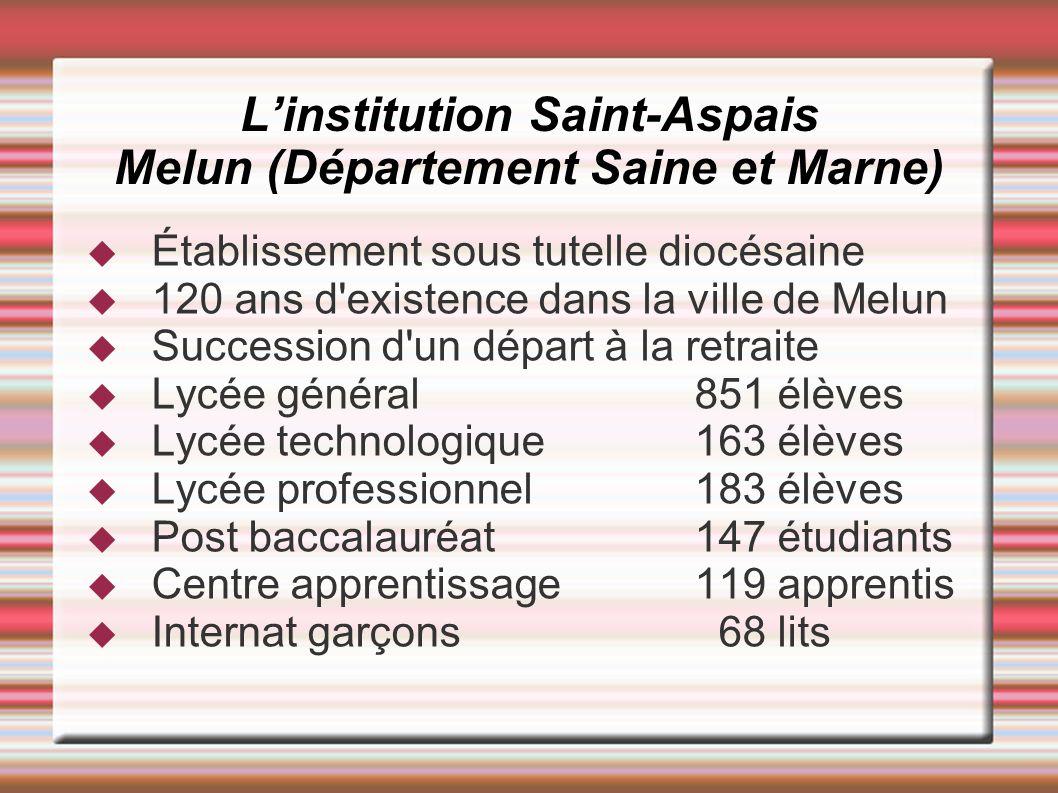 Linstitution Saint-Aspais Melun (Département Saine et Marne) Établissement sous tutelle diocésaine 120 ans d'existence dans la ville de Melun Successi
