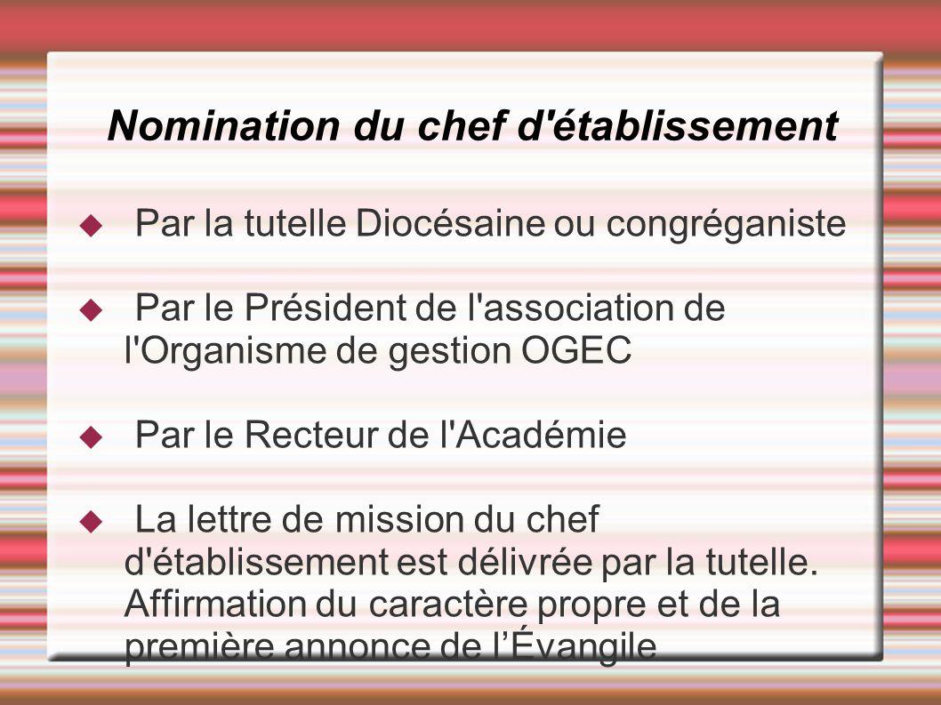 Nomination du chef d'établissement Par la tutelle Diocésaine ou congréganiste Par le Président de l'association de l'Organisme de gestion OGEC Par le