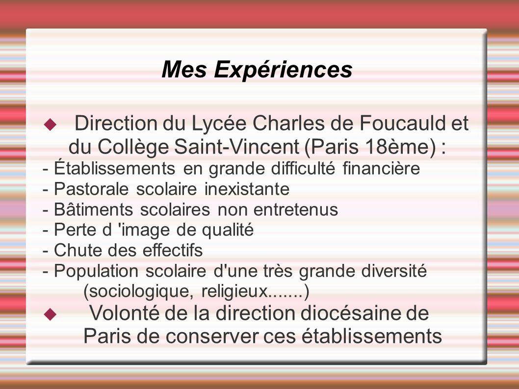 Direction du Lycée Charles de Foucauld et du Collège Saint-Vincent (Paris 18ème) : - Établissements en grande difficulté financière - Pastorale scolai