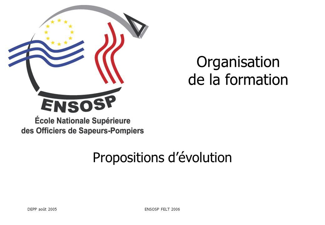 DEPP août 2005ENSOSP FELT 2006 Organisation de la formation Propositions dévolution