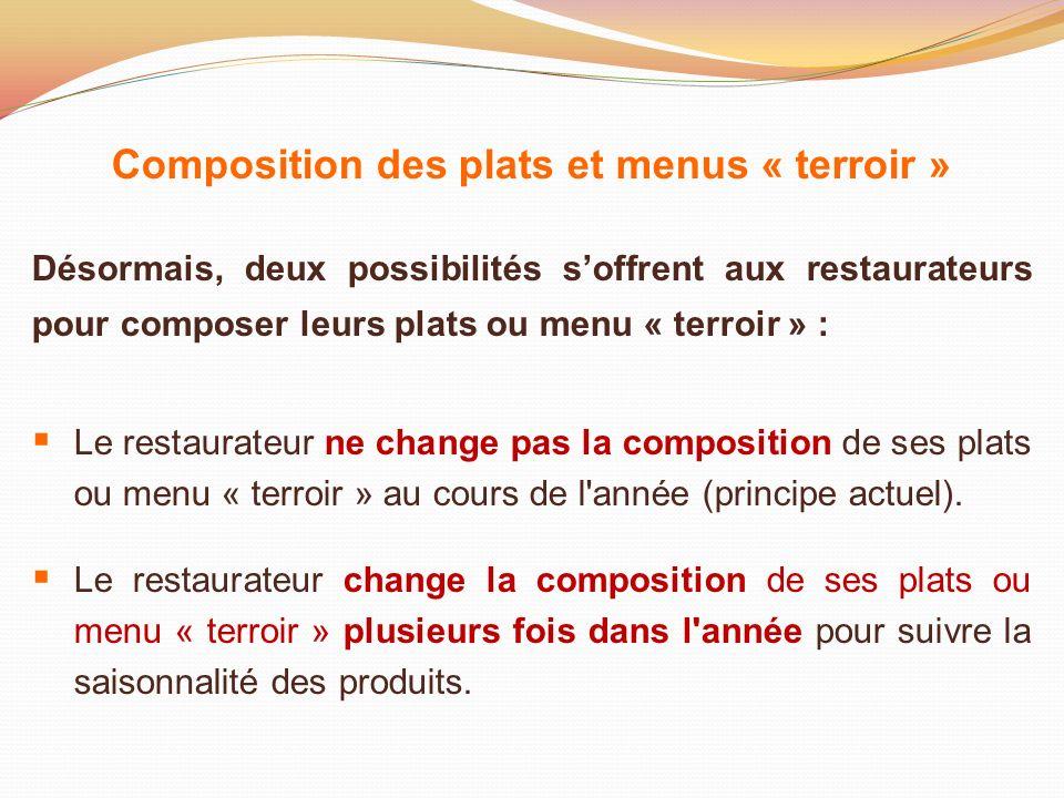 Composition des plats et menus « terroir » Désormais, deux possibilités soffrent aux restaurateurs pour composer leurs plats ou menu « terroir » : Le
