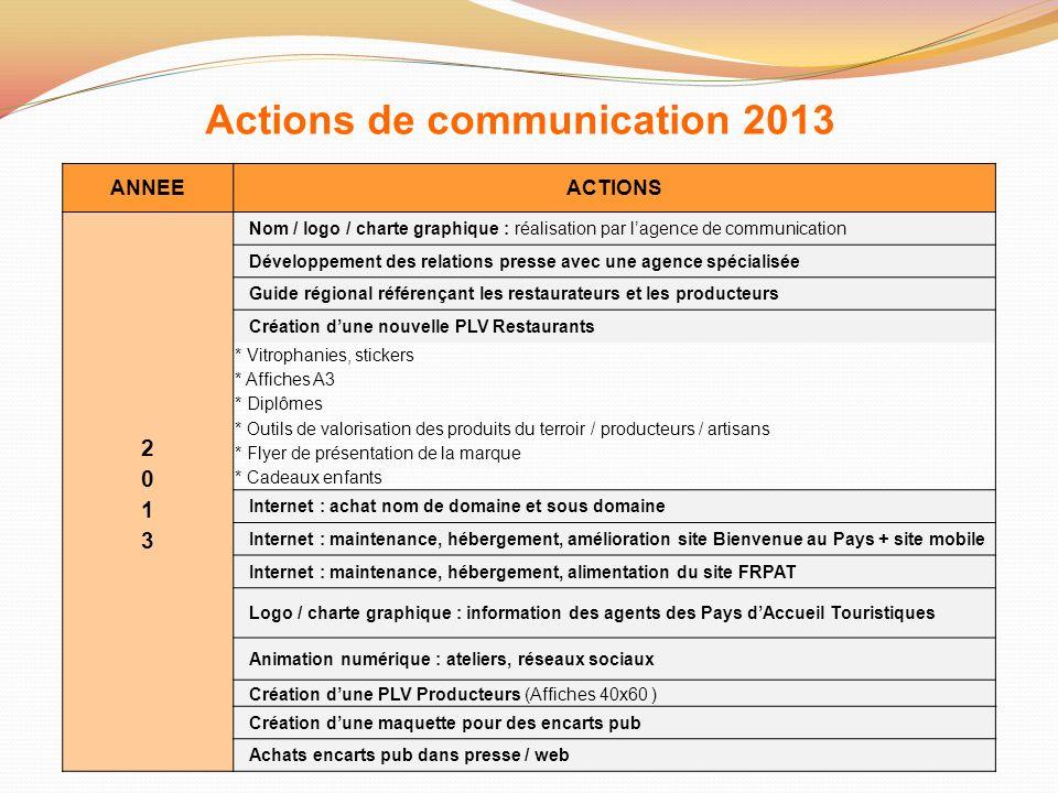 Actions de communication 2013 ANNEEACTIONS Nom / logo / charte graphique : réalisation par lagence de communication Développement des relations presse