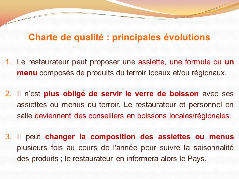 Charte de qualité : principales évolutions 1.Le restaurateur peut proposer une assiette, une formule ou un menu composés de produits du terroir locaux