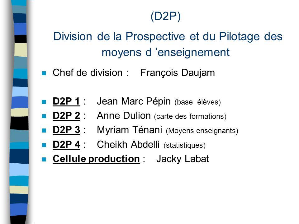 (D2P) Division de la Prospective et du Pilotage des moyens d enseignement n Chef de division : François Daujam n D2P 1 : Jean Marc Pépin (base élèves)