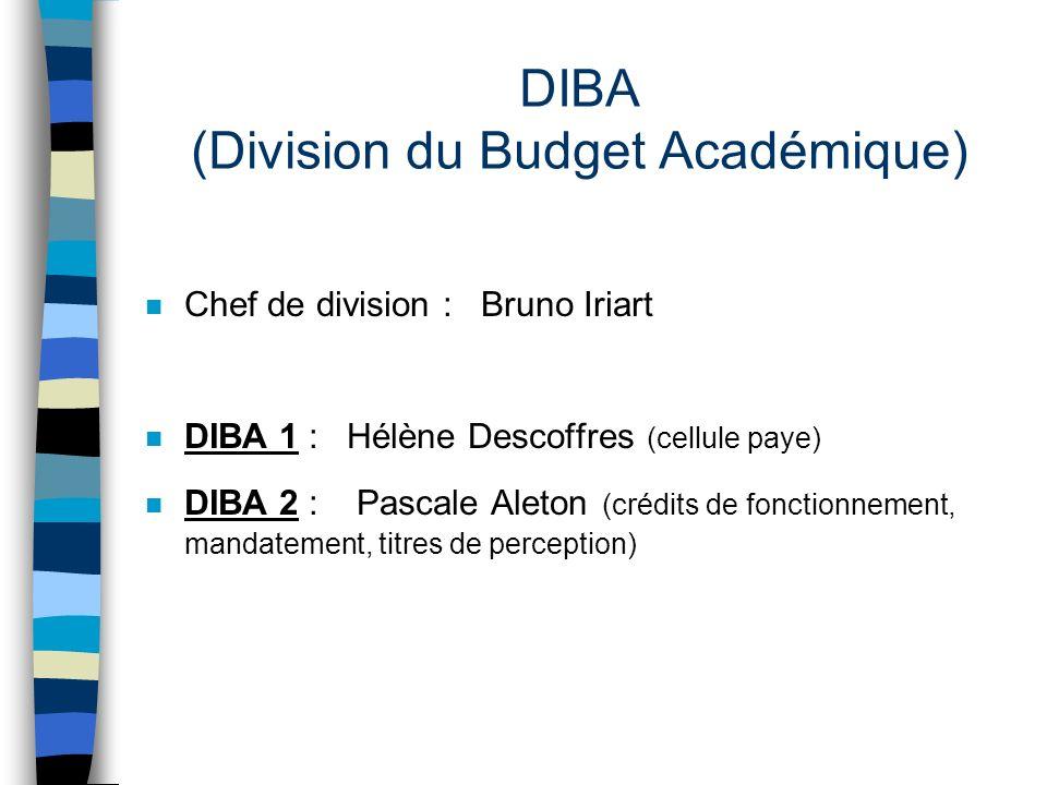 DIBA (Division du Budget Académique) n Chef de division : Bruno Iriart n DIBA 1 : Hélène Descoffres (cellule paye) n DIBA 2 : Pascale Aleton (crédits
