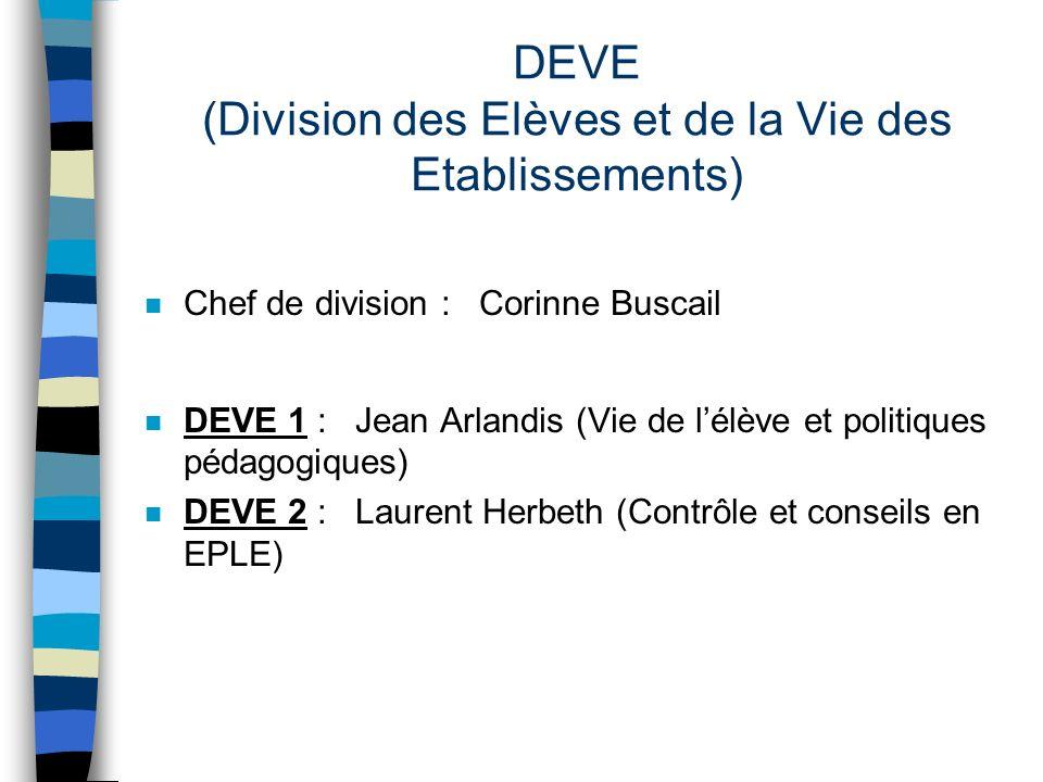 DEVE (Division des Elèves et de la Vie des Etablissements) n Chef de division : Corinne Buscail n DEVE 1 : Jean Arlandis (Vie de lélève et politiques