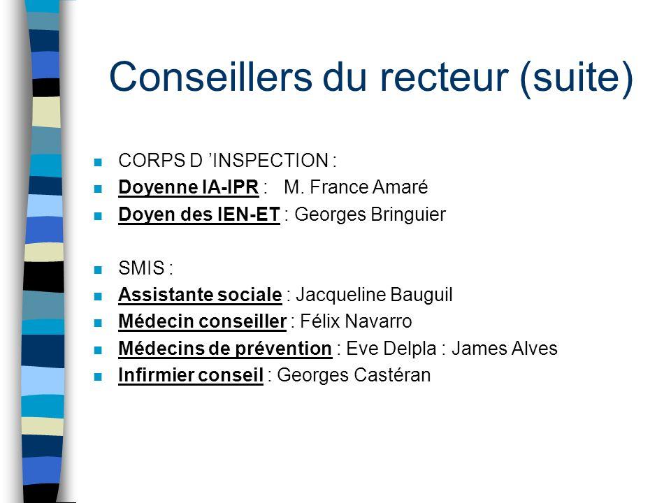 Conseillers du recteur (suite) n CORPS D INSPECTION : n Doyenne IA-IPR : M. France Amaré n Doyen des IEN-ET : Georges Bringuier n SMIS : n Assistante