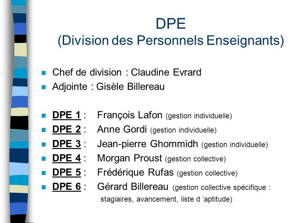 DPE (Division des Personnels Enseignants) n Chef de division : Claudine Evrard n Adjointe : Gisèle Billereau n DPE 1 : François Lafon (gestion individ