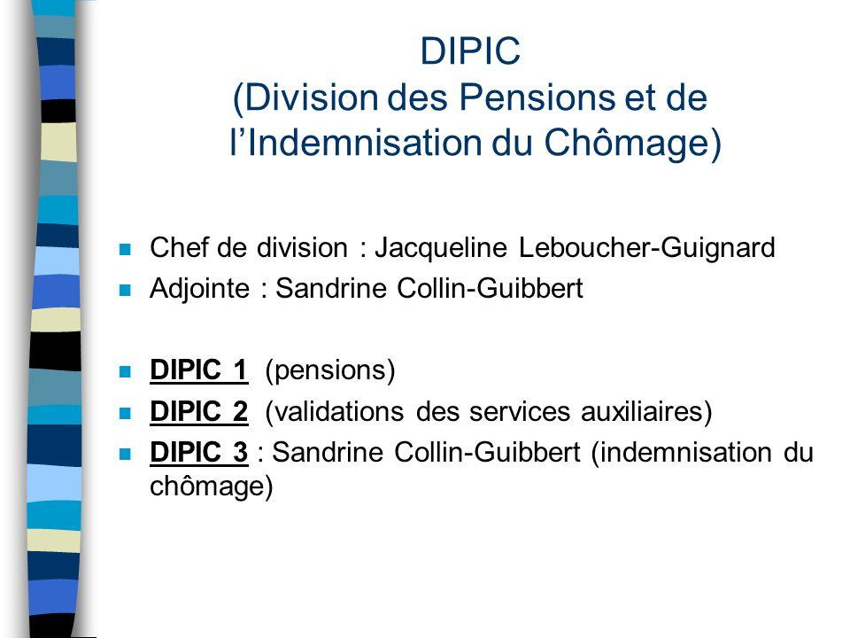 DIPIC (Division des Pensions et de lIndemnisation du Chômage) n Chef de division : Jacqueline Leboucher-Guignard n Adjointe : Sandrine Collin-Guibbert