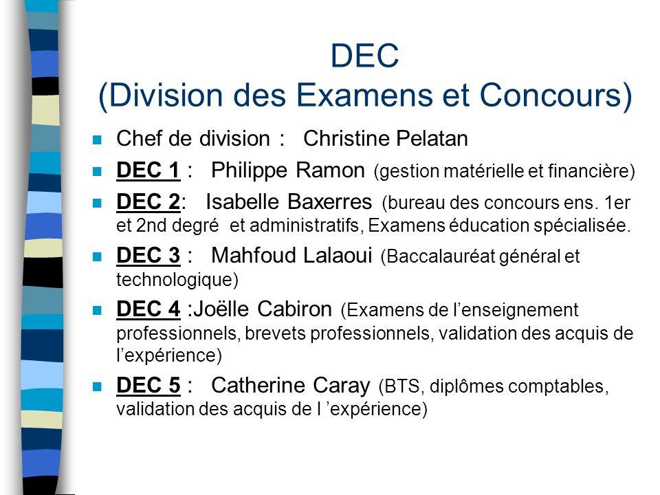 DEC (Division des Examens et Concours) n Chef de division : Christine Pelatan n DEC 1 : Philippe Ramon (gestion matérielle et financière) n DEC 2: Isa