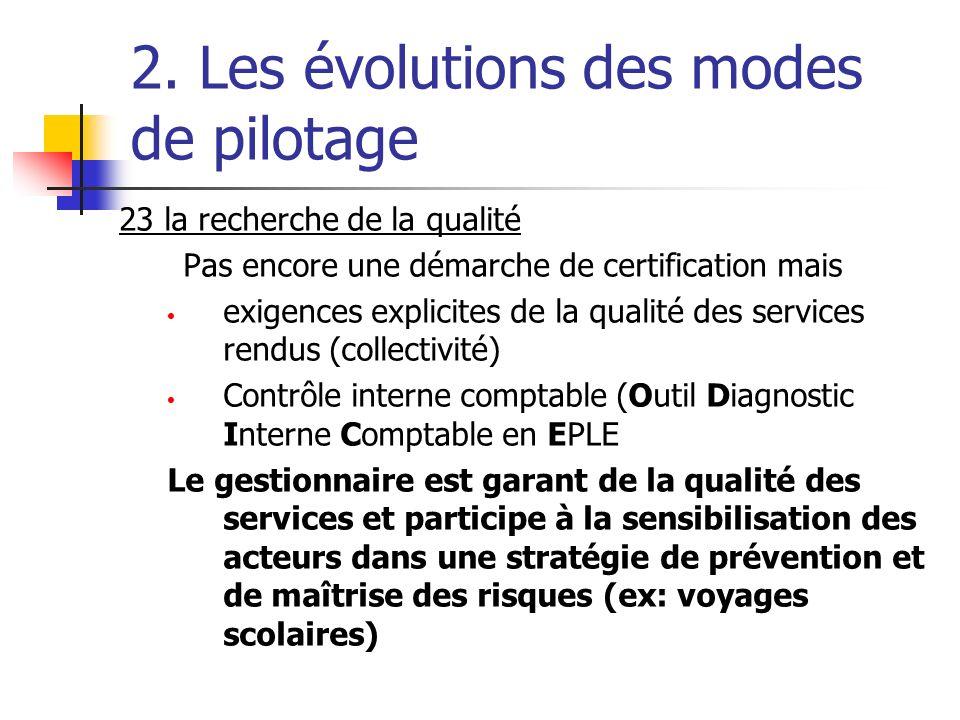 2. Les évolutions des modes de pilotage 23 la recherche de la qualité Pas encore une démarche de certification mais exigences explicites de la qualité