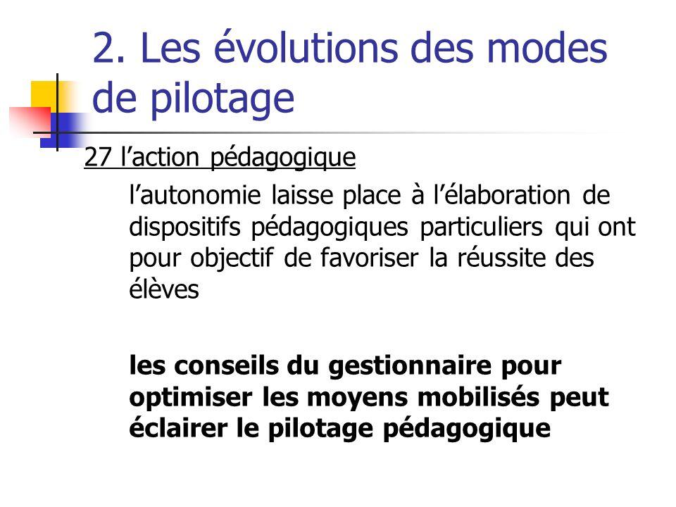 2. Les évolutions des modes de pilotage 27 laction pédagogique lautonomie laisse place à lélaboration de dispositifs pédagogiques particuliers qui ont