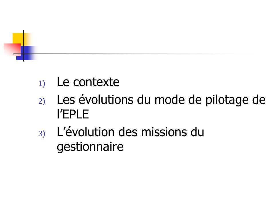 1) Le contexte 2) Les évolutions du mode de pilotage de lEPLE 3) Lévolution des missions du gestionnaire
