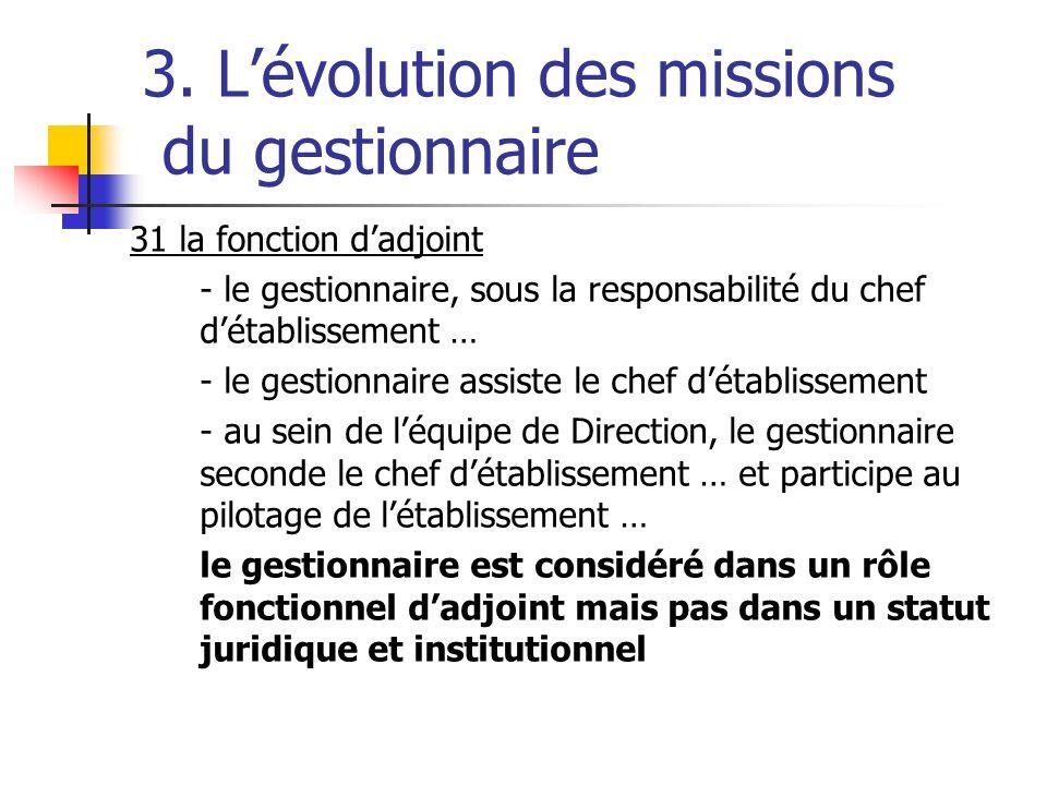 3. Lévolution des missions du gestionnaire 31 la fonction dadjoint - le gestionnaire, sous la responsabilité du chef détablissement … - le gestionnair