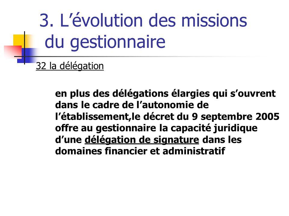 3. Lévolution des missions du gestionnaire 32 la délégation en plus des délégations élargies qui souvrent dans le cadre de lautonomie de létablissemen