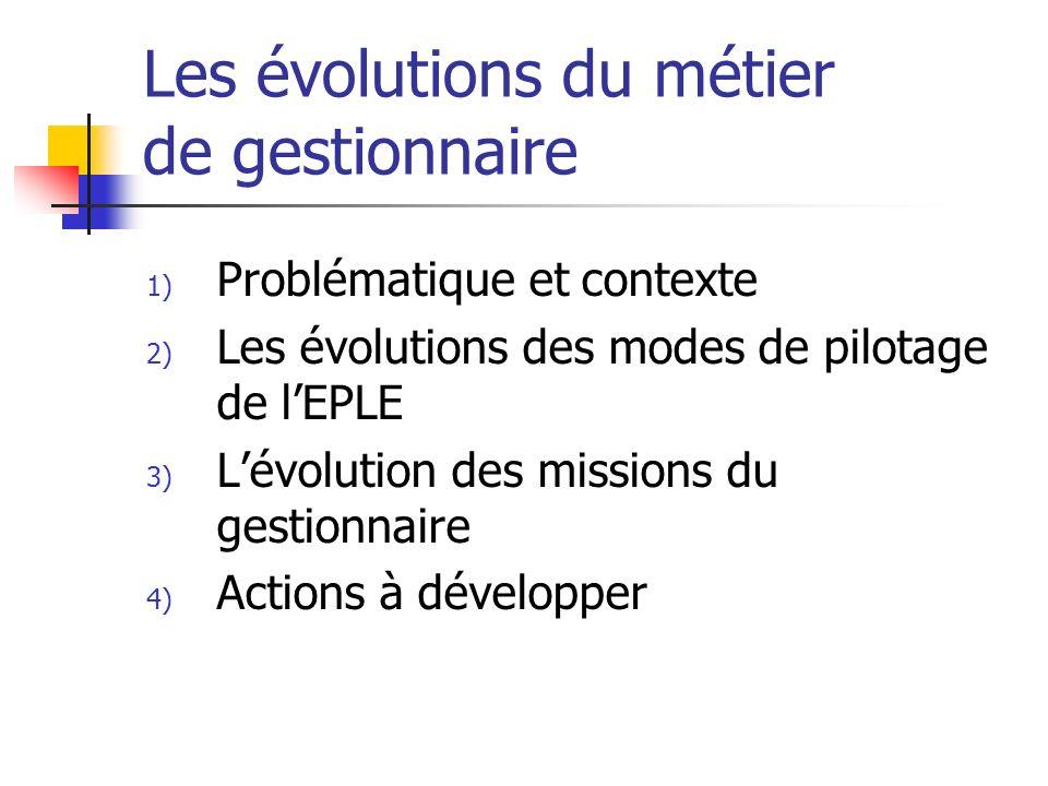 Les évolutions du métier de gestionnaire 1) Problématique et contexte 2) Les évolutions des modes de pilotage de lEPLE 3) Lévolution des missions du g