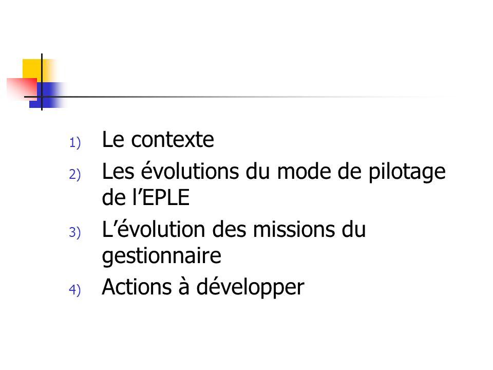 1) Le contexte 2) Les évolutions du mode de pilotage de lEPLE 3) Lévolution des missions du gestionnaire 4) Actions à développer