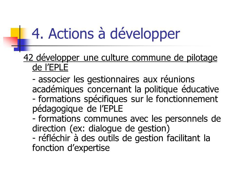 4. Actions à développer 42 développer une culture commune de pilotage de lEPLE - associer les gestionnaires aux réunions académiques concernant la pol