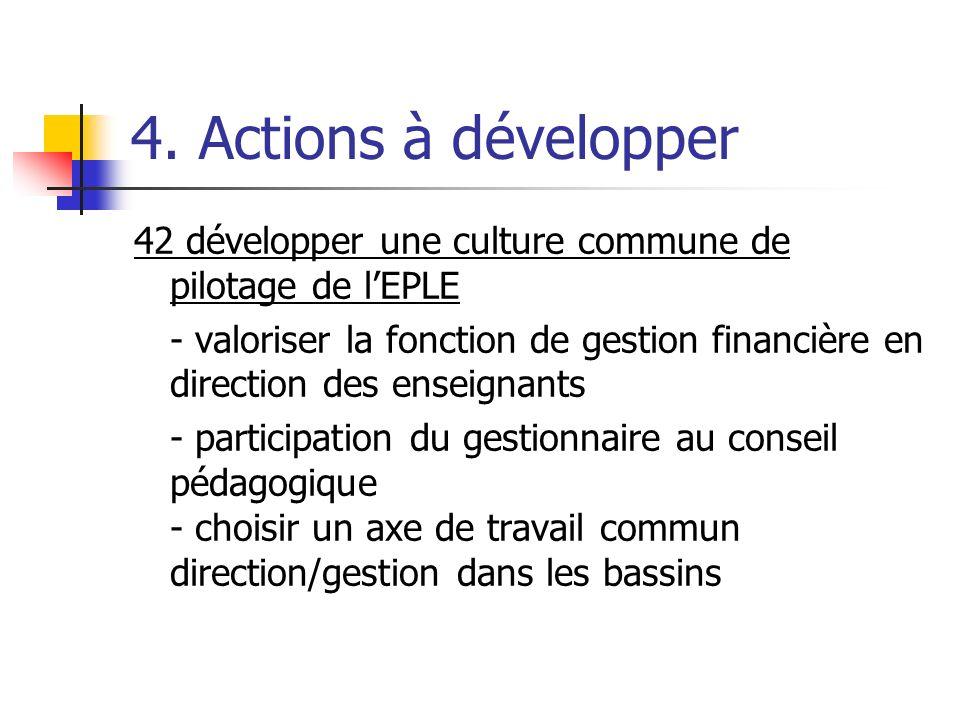 4. Actions à développer 42 développer une culture commune de pilotage de lEPLE - valoriser la fonction de gestion financière en direction des enseigna