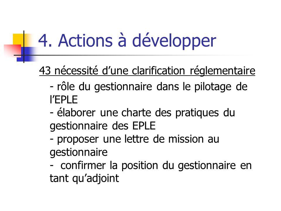 4. Actions à développer 43 nécessité dune clarification réglementaire - rôle du gestionnaire dans le pilotage de lEPLE - élaborer une charte des prati