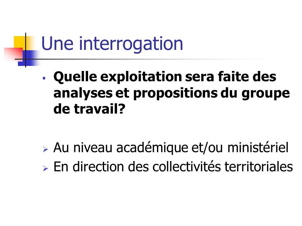 Une interrogation Quelle exploitation sera faite des analyses et propositions du groupe de travail? Au niveau académique et/ou ministériel En directio