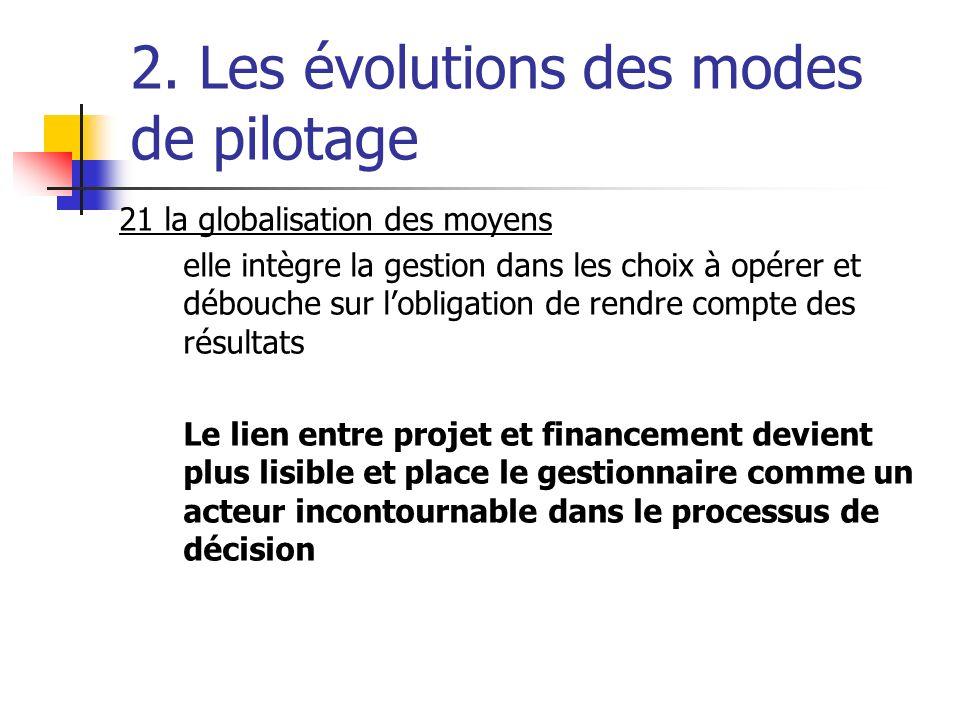 2. Les évolutions des modes de pilotage 21 la globalisation des moyens elle intègre la gestion dans les choix à opérer et débouche sur lobligation de