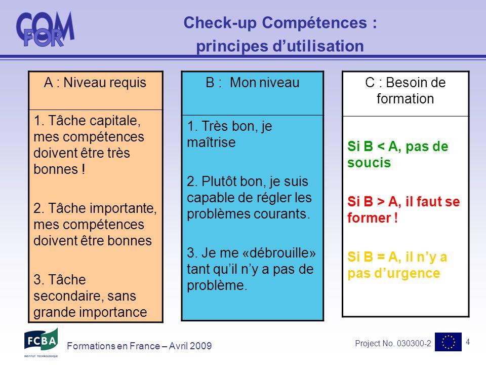 Project No.030300-2 5 Formations en France – Avril 2009 Retour dexpériences .