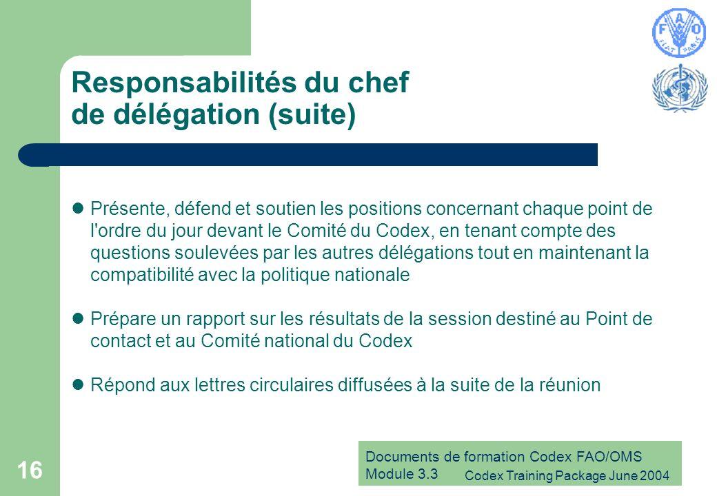 Documents de formation Codex FAO/OMS Module 3.3 Codex Training Package June 2004 16 Responsabilités du chef de délégation (suite) Présente, défend et soutien les positions concernant chaque point de l ordre du jour devant le Comité du Codex, en tenant compte des questions soulevées par les autres délégations tout en maintenant la compatibilité avec la politique nationale Prépare un rapport sur les résultats de la session destiné au Point de contact et au Comité national du Codex Répond aux lettres circulaires diffusées à la suite de la réunion