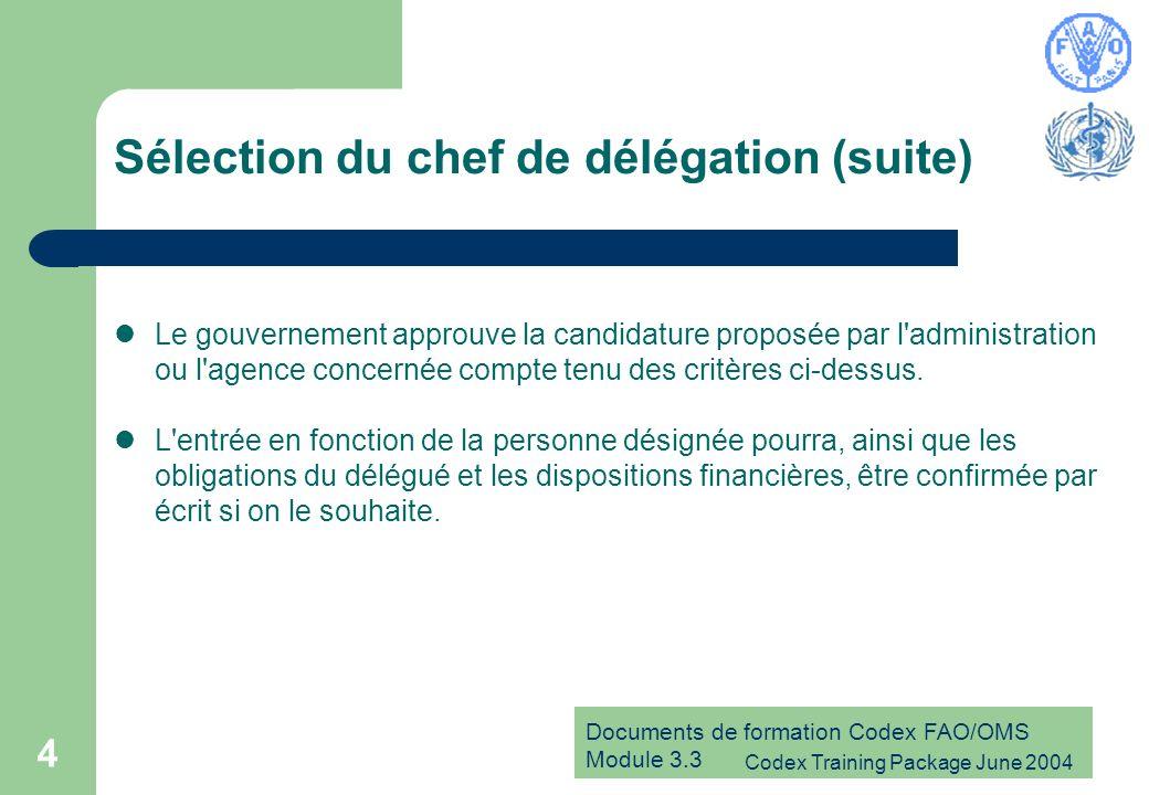 Documents de formation Codex FAO/OMS Module 3.3 Codex Training Package June 2004 15 Responsabilités du chef de délégation (suite) Distribue des exemplaires des projets de positions définitifs: – au Point de contact du Codex – à chaque membre de la délégation – à toutes les organisations intéressées – aux contacts désignés dans d autres pays, le cas échéant