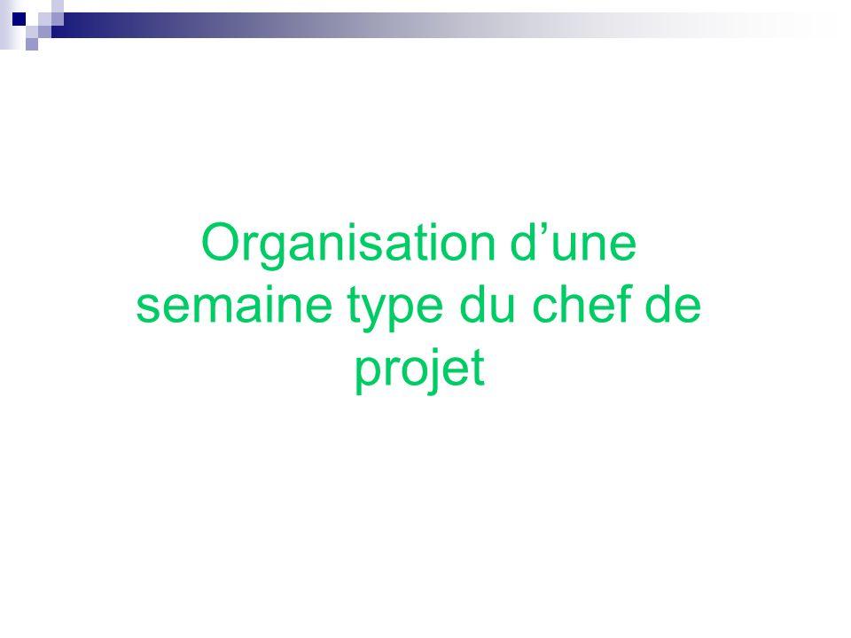 Organisation dune semaine type du chef de projet
