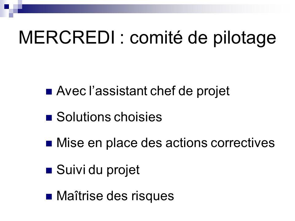 MERCREDI : comité de pilotage Avec lassistant chef de projet Solutions choisies Mise en place des actions correctives Suivi du projet Maîtrise des ris
