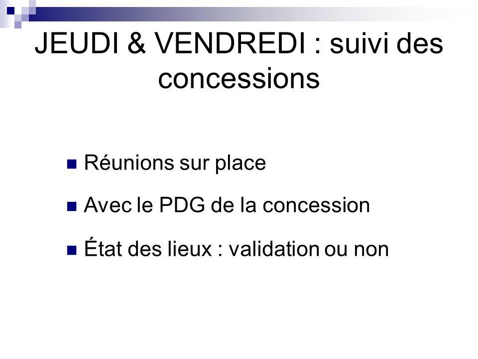 JEUDI & VENDREDI : suivi des concessions Réunions sur place Avec le PDG de la concession État des lieux : validation ou non