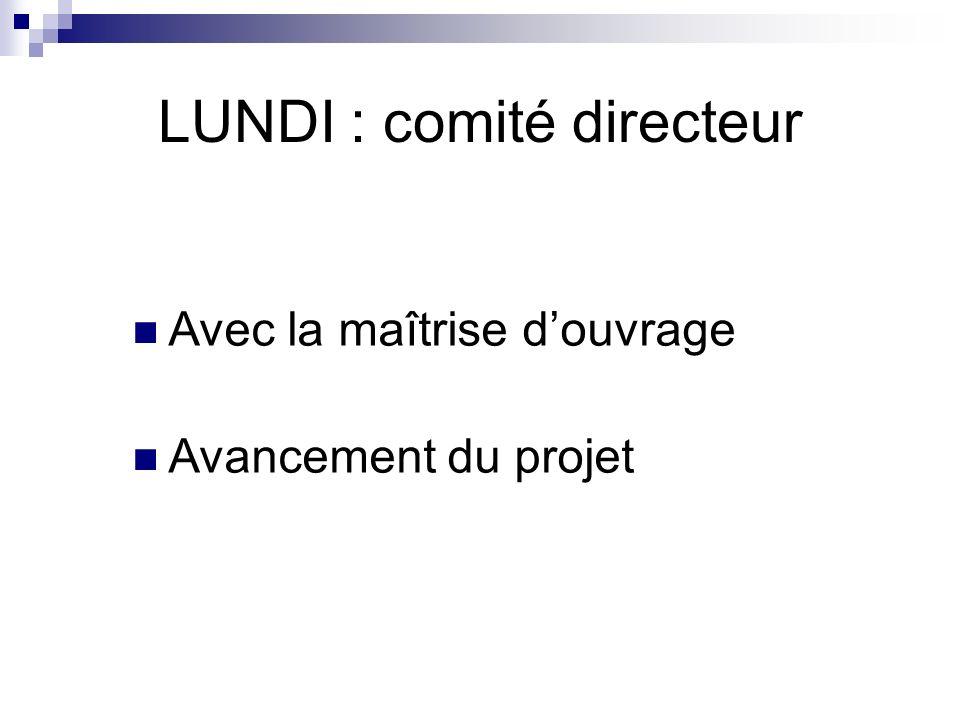 LUNDI : comité directeur Avec la maîtrise douvrage Avancement du projet