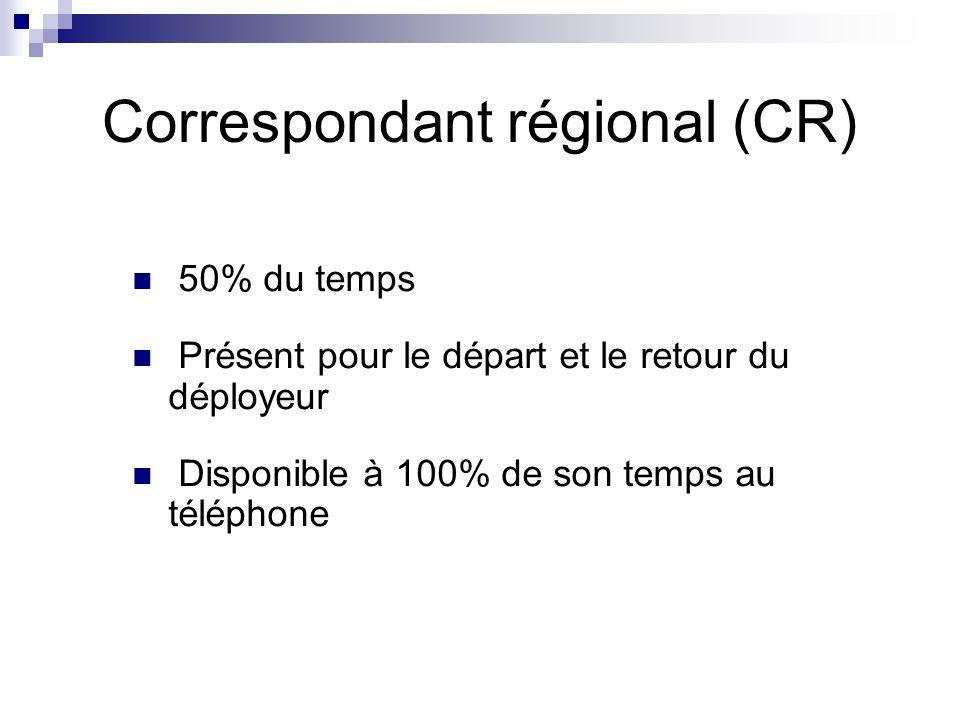 Correspondant régional (CR) 50% du temps Présent pour le départ et le retour du déployeur Disponible à 100% de son temps au téléphone